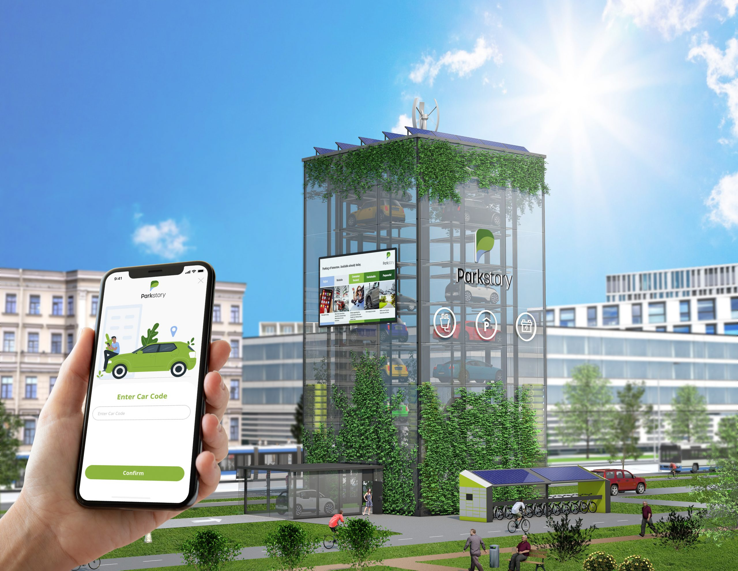 Parkstory App and parktower