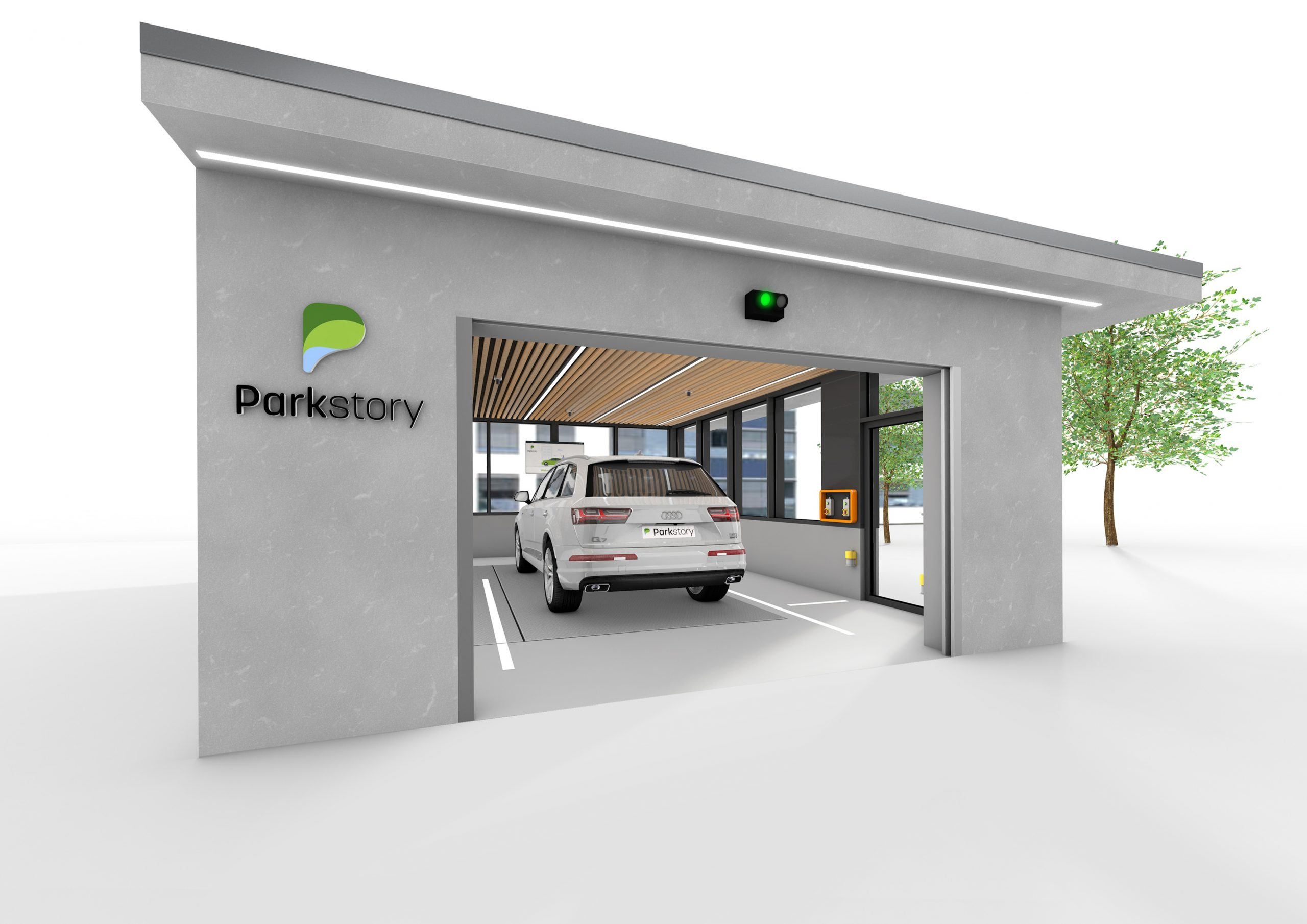 Parkstory parking lounge with glass