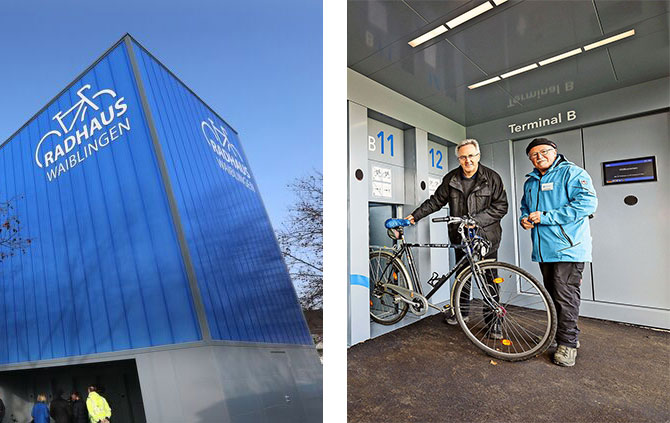 """Blue bycicle station """"Radhaus Waiblingen"""" out and inside"""